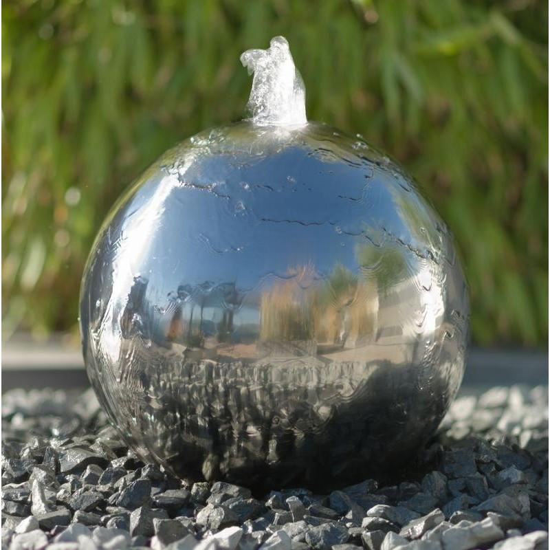 KAMBOS - fontaine boule argentée avec éclairage LED