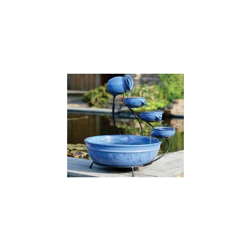 Fontaine en CERAMIQUE bleue  - 3 bols