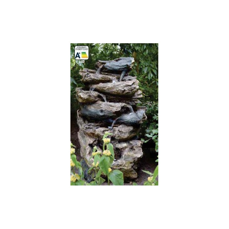 OAKLAND - Grande fontaine naturelle en rochers et bois   LED