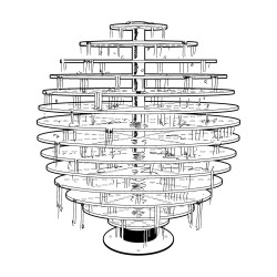 GALIA - fontaine de disques transparents   LED