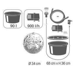 TRENTE - sphère en pierres naturelles brun clair   LED