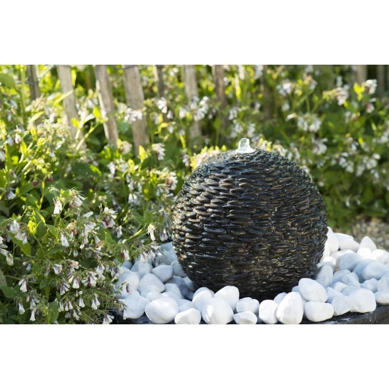 SELVA - sphère en pierres naturelles brun foncé   LED