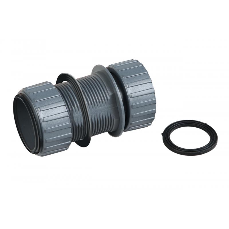 Adaptateur avec joint caoutchouc + anneau fileté pour filtration UV-C sera pond 55X