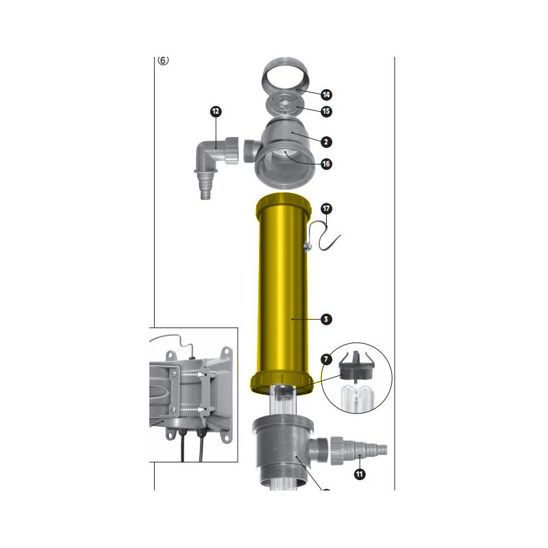 Tuyau principal avec anneaux filetés pour filtration UV-C Sera 55X