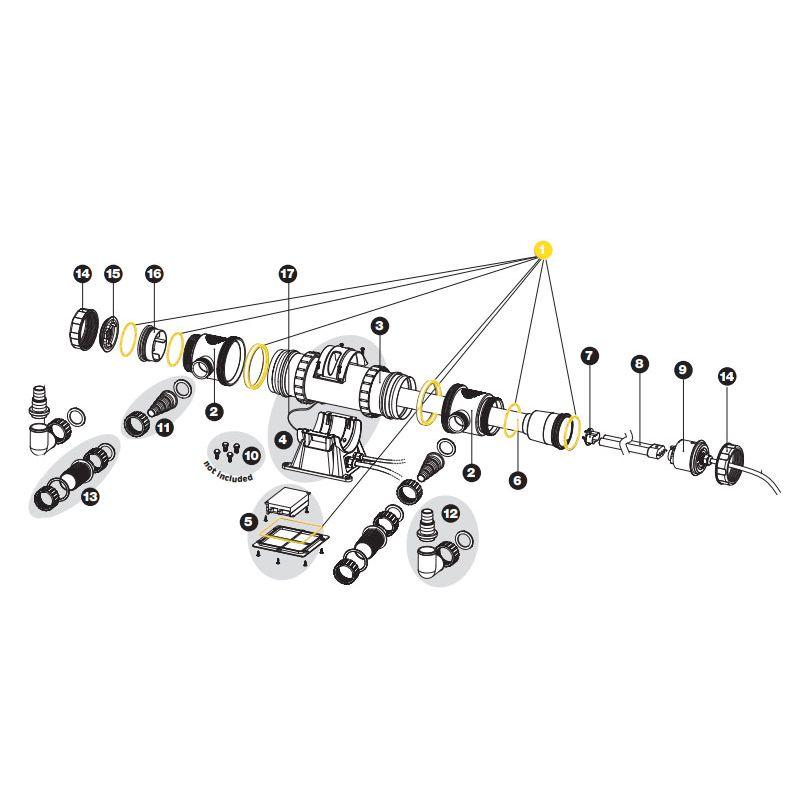 7 joints toriques pour filtration UV-C Sera 55X